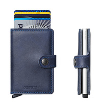 Secrid MiniWallet Vintage Blue Leather Wallet RFID Credit Card Protector
