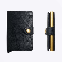 Secrid Mini Wallet Crisple Black Gold Leather Wallet RFID Credit Card Protector