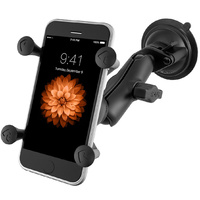 RAM Mount Windscreen Suction Cup Car Mount with X-Grip for iPhone 11 Pro Max, XS Max, 8 Plus etc with Tether - RAM-B-166-UN10U