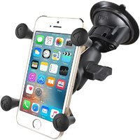 RAM Mount Windscreen Suction Cup Car Mount with X-Grip for iPhone 11 Pro, 11, X, XS, XR, 8 etc with Tether - RAM-B-166-UN7U